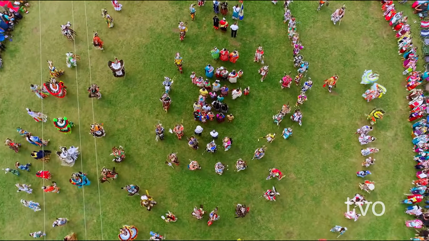 overhead view of colourful participants in pow wow